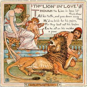 The Lion in Love, Illustration from 'Baby's Own Aesop', Engraved and Printed by Edmund Evans,… by Walter Crane
