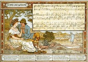 The Passionate Shepherd to His Love', Song Illustration from 'Pan-Pipes', a Book of Old Songs,… by Walter Crane