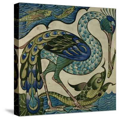Tile Design of Heron and Fish, by Walter Crane
