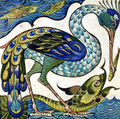Tile Design of Heron and Fish, by Walter Crane by Walter Crane