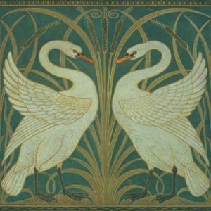 Wallpaper Design For Panel of Swan, Rush and Iris by Walter Crane