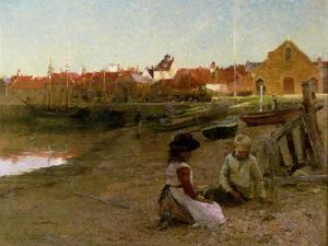 Playing on the Shingle, 1885 by Walter Frederick Osborne