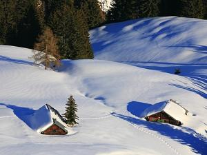 Cabins Nearly Covered in Snow in the German Alps by Walter Geiersperger