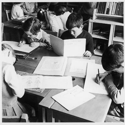 Walter Halls Primary School, Nottingham Children Reading, Writing and Drawing-Henry Grant-Photographic Print