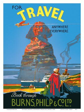 """1930s For Travel /""""Anywhere Everywhere/"""" Vintage Style Travel Poster 24x36"""