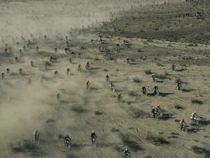 Aerial View of Hundreds of Motorcyclists Racing Across the Mojave Desert by Walter Meayers Edwards