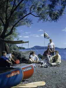 Men Camp Beside Susquehanna River's Source before Canoeing Downriver by Walter Meayers Edwards
