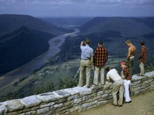 Men Stand at Scenic Overlook Above West Branch of Susquehanna River by Walter Meayers Edwards