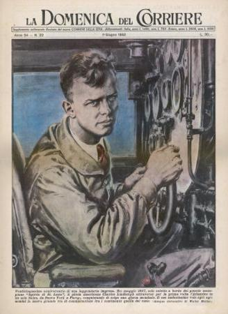 Charles Augustus Lindbergh in the Cockpit of His Monoplane Spirit of St. Louis