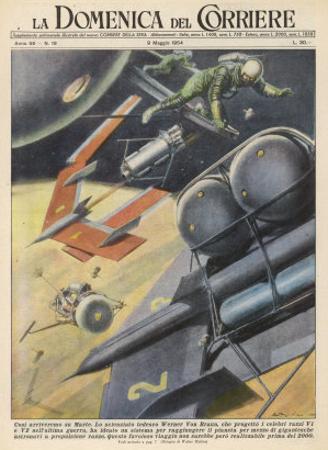 German Engineer Wernher Von Braun Proposes a Variety of Designs for Interplanetary Spacecraft