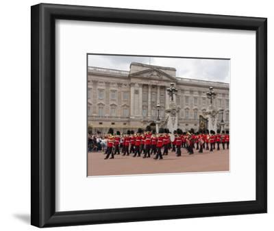 Band of Scots Guards Lead Procession from Buckingham Palace, Changing Guard, London, England