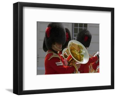 Coldstream Guards Band Practise at Wellington Barracks, Reflected in Brass Tuba, London, England