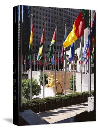 Flags Outside the Rockefeller Center, New York City, New York, USA