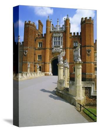 The Queen's Beasts on the Bridge Leading to Hampton Court Palace, Hampton Court, London, England