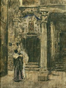 Pierrot and Woman Embracing by Walter Richard Sickert