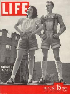American Maybelle Davis and Jim Cash in Traditional Alpine Fashions, Postwar Germany, July 21, 1947 by Walter Sanders