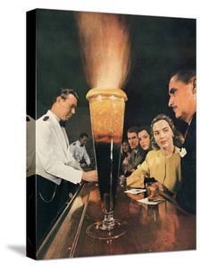 Bartender Tending Bar in the Zebra Room of the Town House, Los Angeles, California, 1946 by Walter Sanders