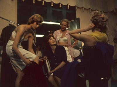 Fashion Models after a David Crystal Show Backstage, New York, New York, 1960