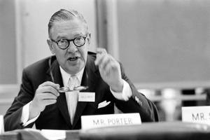 Lawyer Mr. Paul Porter Speaking at the Arden House Economic Conference, New York, NY, 1958 by Walter Sanders
