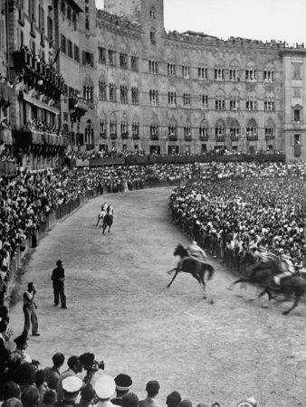 People Watching Horse Race that Is Traditional Part of the Palio Celebration