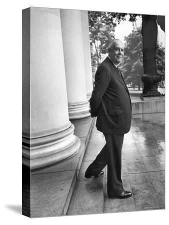 Poet and Vice President of Hartford Accident and Indemnity Co, Wallace Stevens Standing on Steps