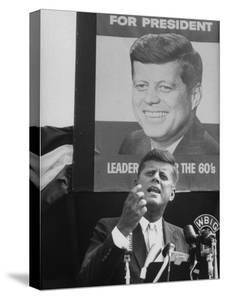 Sen./Pres. Candidate John Kennedy Speaking From Microphoned Podium During His Campaign Tour of TN by Walter Sanders