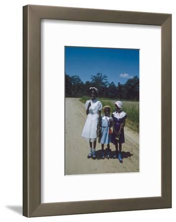 Three Young Girls in Collared Dresses, Edisto Island, South Carolina, 1956