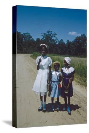 Three Young Girls in Collared Dresses, Edisto Island, South Carolina, 1956