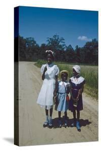 Three Young Girls in Collared Dresses, Edisto Island, South Carolina, 1956 by Walter Sanders