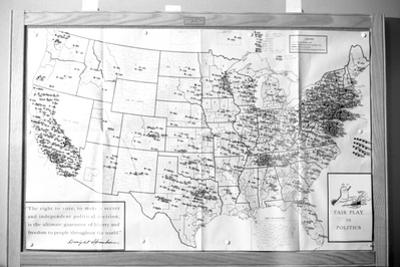 "Us Map ""Fair Play in Politics"" Displaying Areas with Political Religious Bias, 1960"