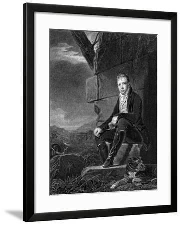 Walter Scott, Scottish Poet and Novelist, Seated on a Stone, Accompanied by a Dog, 1808-John Horsburgh-Framed Giclee Print