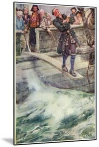 Walking the Plank', Illustration from 'The Master of Ballantrae' by Robert Louis Stevenson by Walter Stanley Paget