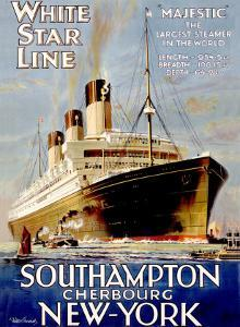 White Star Line, Southampton, Cherbourg, New York by Walter Thomas