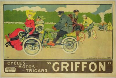 """Poster Advertising """"Griffon Cycles, Motos & Tricars"""" by Walter Thor"""