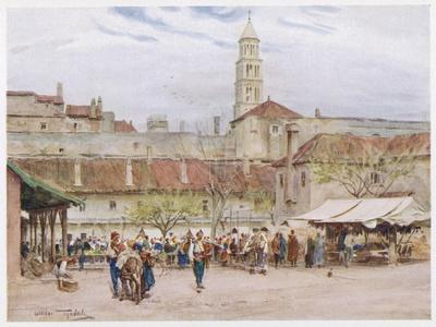 Market Day in Split (Now in Croatia) on the Dalmatian Coast