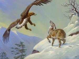 This Painting Depicts a Himalayan Deer Fighting Off an Eagle by Walter Weber