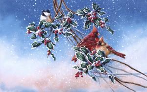 Cardinals and Chickadee by Wanda Mumm