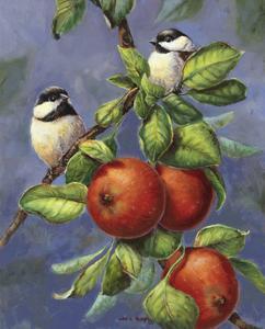 Chickadees and Apples by Wanda Mumm