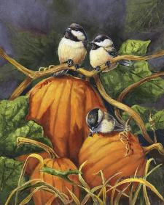 Chickadees and Pumpkins by Wanda Mumm