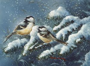 December Chickadees by Wanda Mumm
