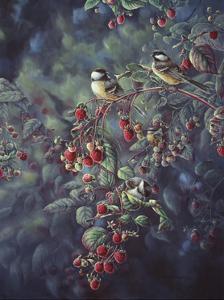 Red Raspberries and Chickadees by Wanda Mumm