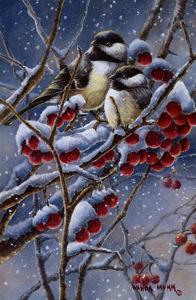Winter Chickadees and Berries by Wanda Mumm