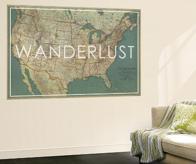 National Geographic World Map Murals.Wanderlust 1933 United States Of America Map Wall Mural By
