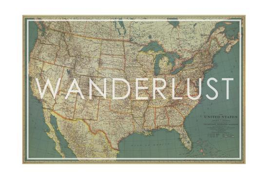 Wanderlust - 1933 United States of America Map Giclee Print by ...