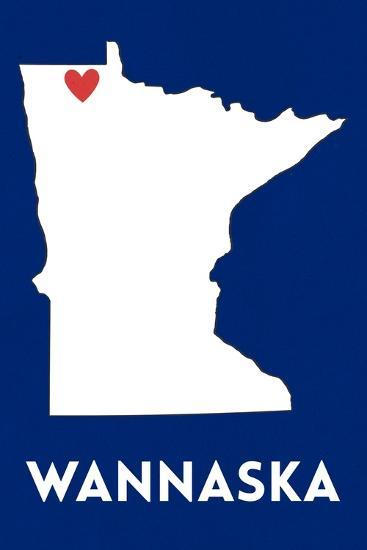 Wannaska, Minnesota - Home State - White on Blue-Lantern Press-Art Print