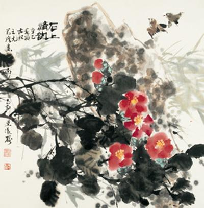 Birds and Red Blossoms by Rock by Wanqi Zhang