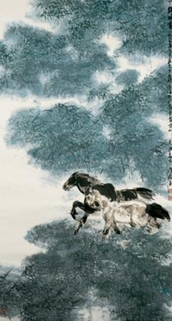Twin Horses in Bamboo Forest by Wanqi Zhang