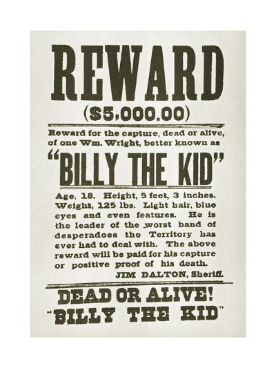Wanted Poster for Billy the Kid Offering $5000 Dollars Reward, 1880s--Art Print