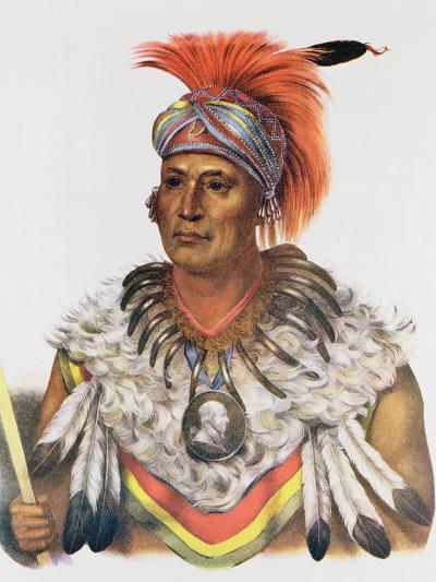 Wapella or the Prince Chief of the Foxes, 1837, Illustration from 'The Indian Tribes of North…-Charles Bird King-Giclee Print