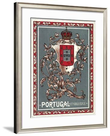 Wappen Litho Portugal, Wappen Mit Krone, Ranken--Framed Giclee Print